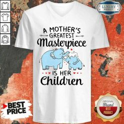 Premium Elephant A Mother'S Greatest Masterpiece Is Her Children V-neck-Design By Soyatees.com