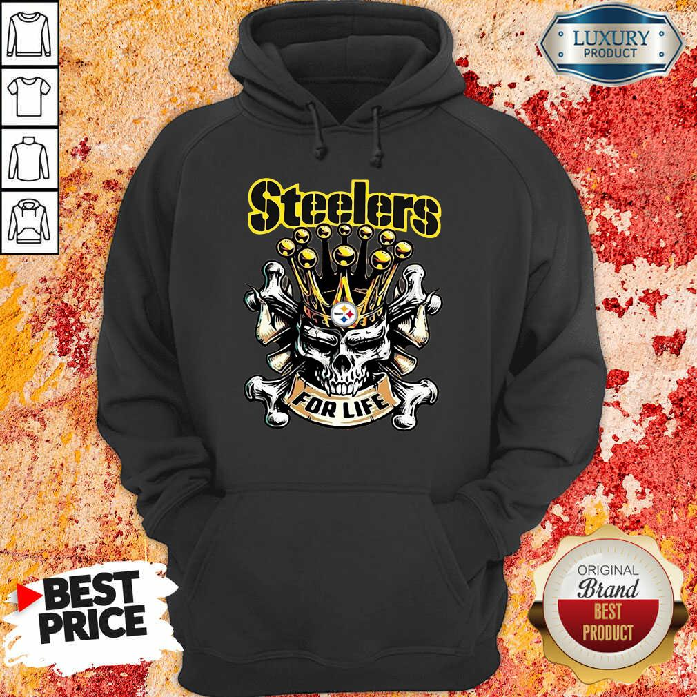 Skull King Pittsburgh Steelers For Life Hoodie-Design By Soyatees.com