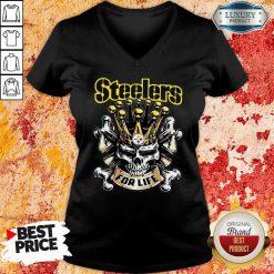 Skull King Pittsburgh Steelers For Life V-neck-Design By Soyatees.com