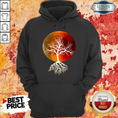 Blood Moon With Tree Moon Lunar Eclipse Moonlight Full Moon Pullover Hoodie-Design By Soyatees.com