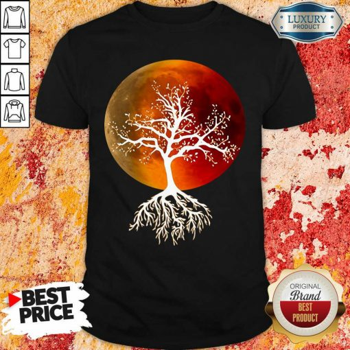 Blood Moon With Tree Moon Lunar Eclipse Moonlight Full Moon Pullover Shirt-Design By Soyatees.com