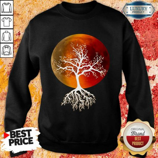 Blood Moon With Tree Moon Lunar Eclipse Moonlight Full Moon Pullover Sweatshirt-Design By Soyatees.com