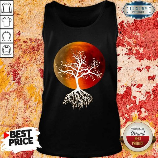 Pretty Blood Moon With Tree Moon Lunar Eclipse Moonlight Full Moon Pullover Tank Top-Design By Soyatees.com