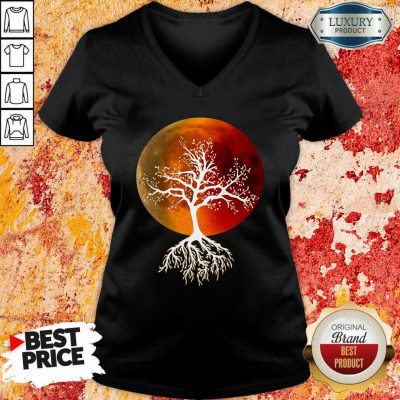 Blood Moon With Tree Moon Lunar Eclipse Moonlight Full Moon Pullover V-neck-Design By Soyatees.com