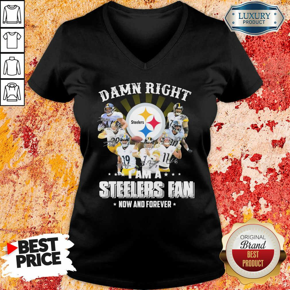 Damn Right Steelers Fan Now And Forever  Pretty Damn Right Steelers Fan Now And Forever V-neck-Design By Soyatees.com