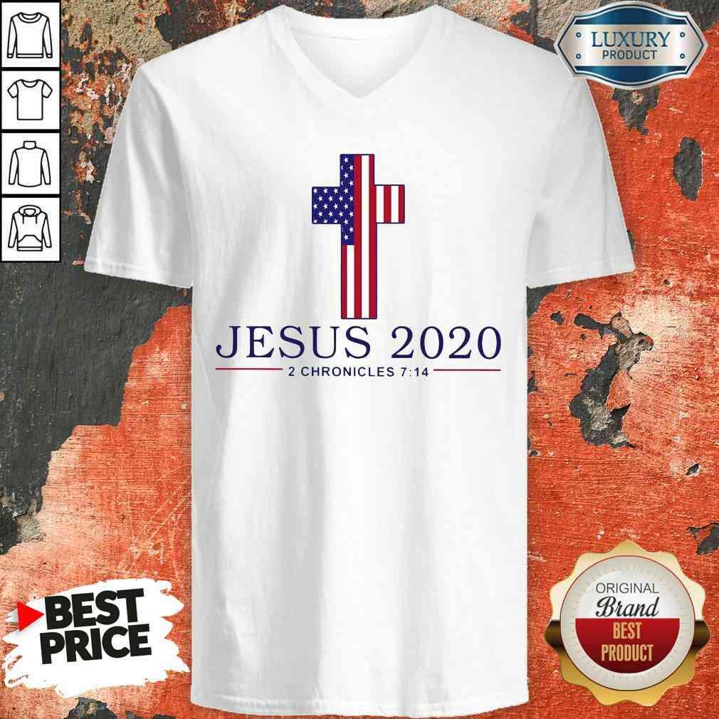 Pretty Jesus 2020 2 Chronicles 7 14 America Flag 2022 V-neck-Design By Soyatees.com