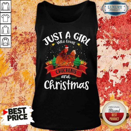 Pretty Just A Girl Who Love Chickens And Christmas Tank Top-Design By Soyatees.com