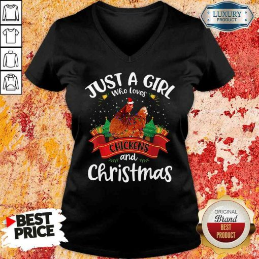 Pretty Just A Girl Who Love Chickens And Christmas V-neck-Design By Soyatees.com