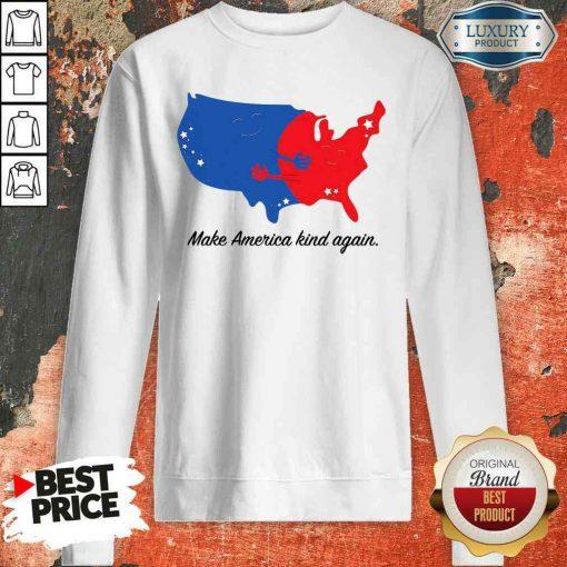 Pretty Make America Kind Again Hugging America Map Sweatshirt-Design By Soyatees.com