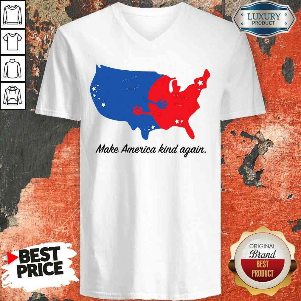 Pretty Make America Kind Again Hugging America Map V-neck-Design By Soyatees.com