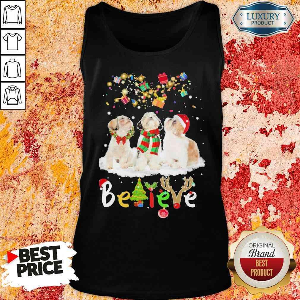 Pretty Shih Tzu Believe Christmas Tank Top-Design By Soyatees.com