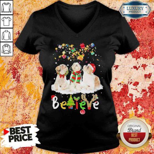 Pretty Shih Tzu Believe Christmas V-neck-Design By Soyatees.com