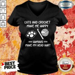 Top Cats And Crochet Make Me Happy Humans Make My Head Hurt V-neck-Design By Soyatees.com