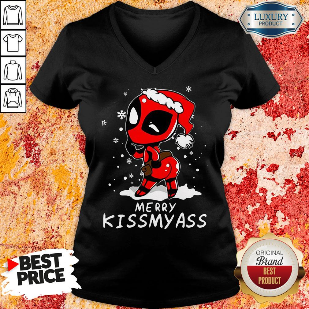 Top Deadpool Merry Kiss My Ass V-neck-Design By Soyatees.com