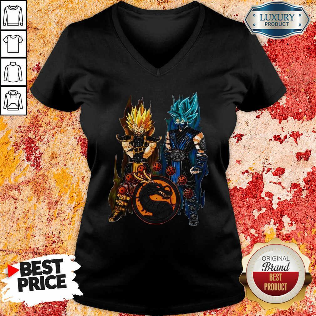 Dragon Ball Son Goku And Vegeta V-neck-Design By Soyatees.com