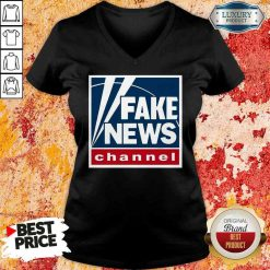 Top Fake News Channel V-neck-Design By Soyatees.com