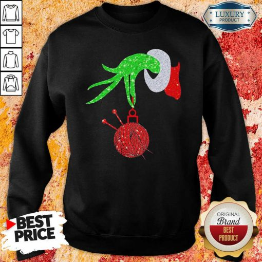 Top Grinch Hand Holding Crochet Merry Christmas 2020 Sweatshirt-Design By Soyatees.com
