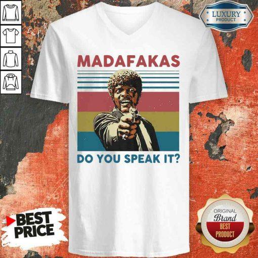Top Madafakas Do You Speak It Vintage Retro V-neck