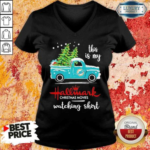 Top Miami Dolphins This Is My Hallmark Christmas Movies Watching V-neck-Design By Soyatees.com