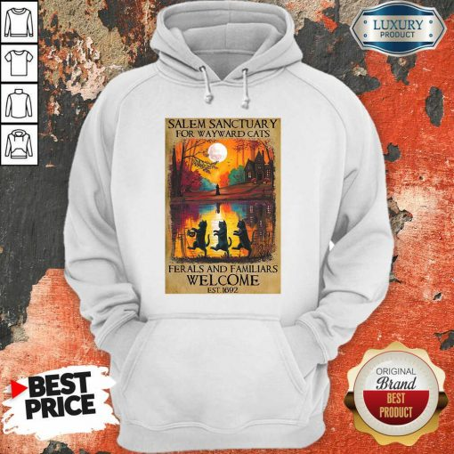 Top Salem Sanctuary For Wayward Cats Ferals And Familiars Welcome Est 1692 Hoodie-Design By Soyatees.com