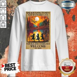 Top Salem Sanctuary For Wayward Cats Ferals And Familiars Welcome Est 1692 Sweatshirt-Design By Soyatees.com
