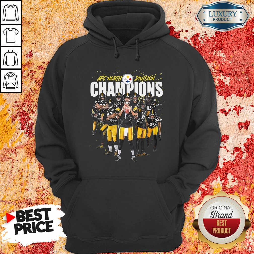Pittsburgh Steelers Team Football Afc North Division Champions Signatures Hoodie - Desisn By Soyatees.com