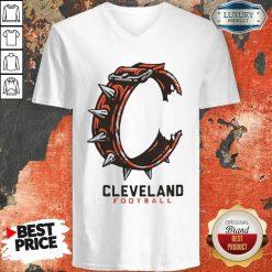 Logo Cleveland Football V-neck-Design By Soyatees.com