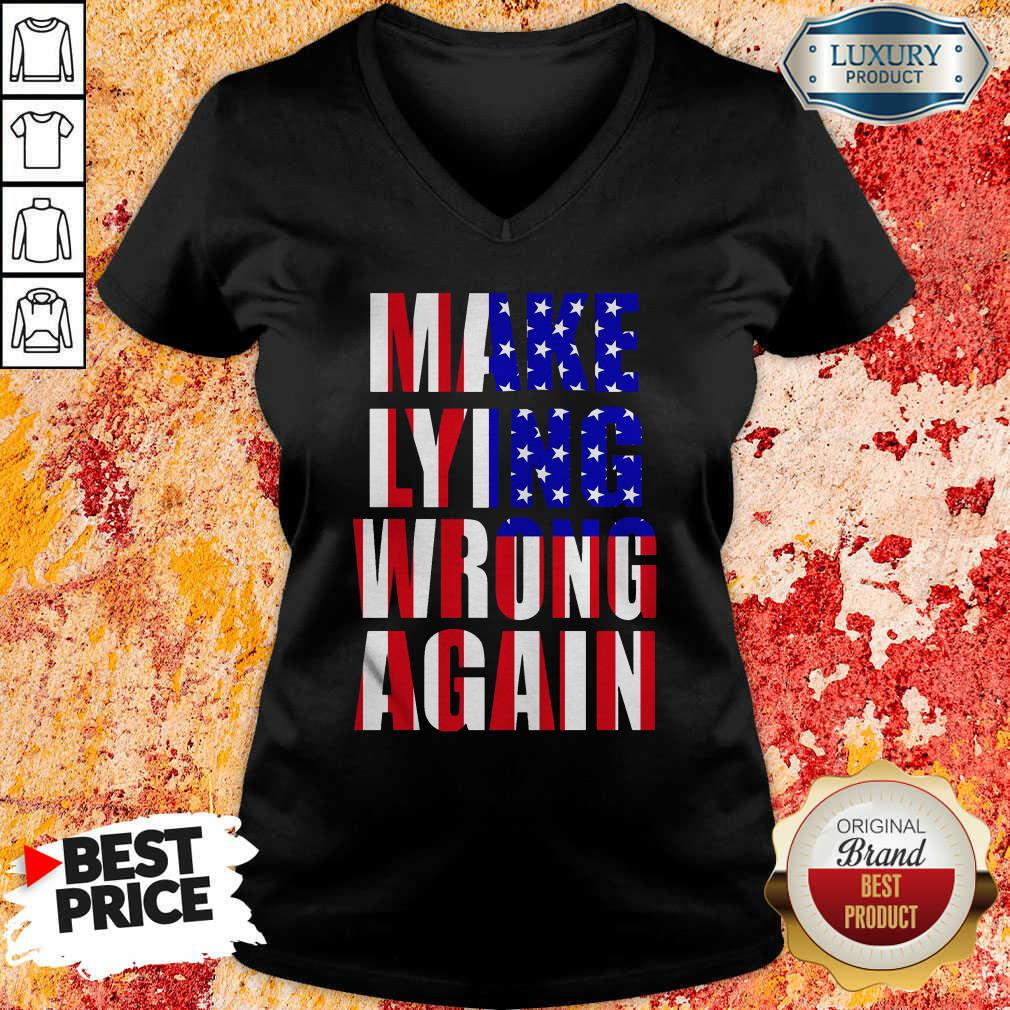 Make Lying Wrong Again American Flag V-neck-Design By Soyatees.com