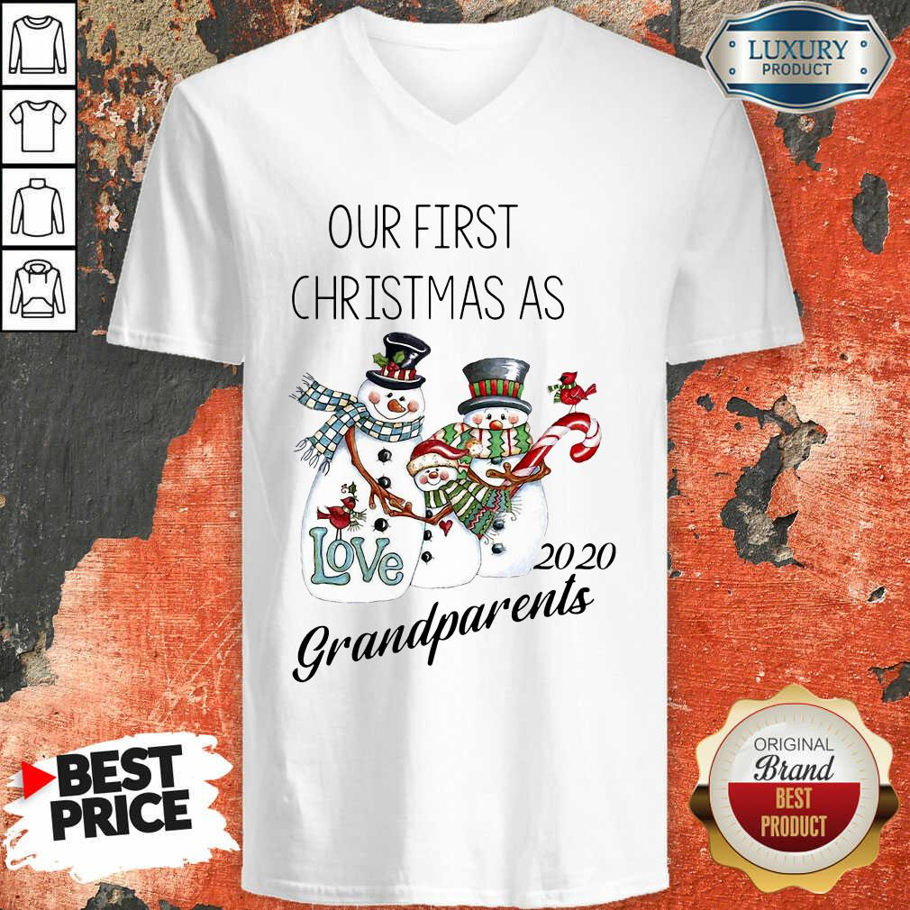 Snowman Our First Christmas Love 2020 Grandparents V-neck-Design By Soyatees.com