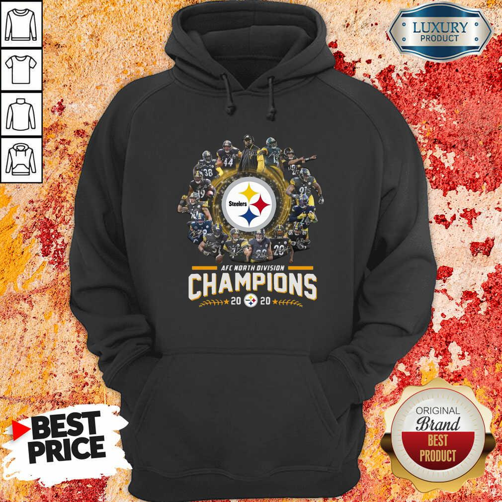 Pittsburgh Steelers Team Football 2020 Afc North Division Signatures Hoodie - Desisn By Soyatees.com