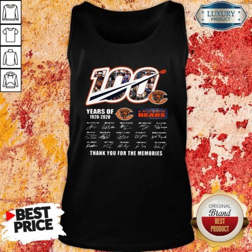 100 Years Of 1920 2020 Chicago Bears Thank For The Memories Signatures Tank Top-Design By Soyatees.com