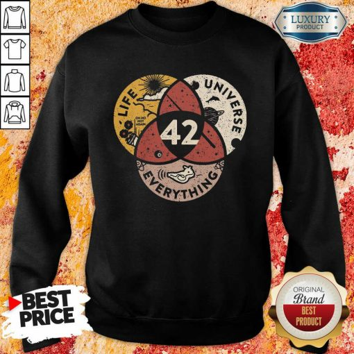 42 The Answer To Life Universe And Everything Sweatshirt-Design By Soyatees.com