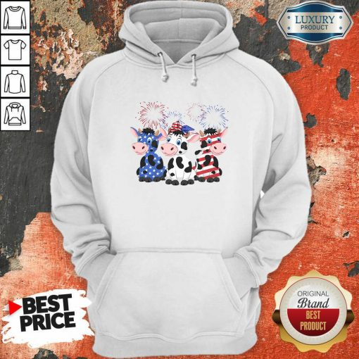 Cows Blue White Red American Flag Hoodie-Design By Soyatees.com