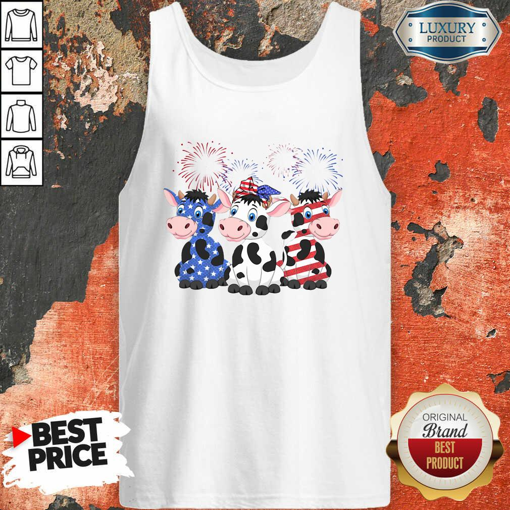 Cows Blue White Red American Flag Tank Top-Design By Soyatees.com