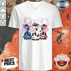 Cows Blue White Red American Flag V-neck-Design By Soyatees.com