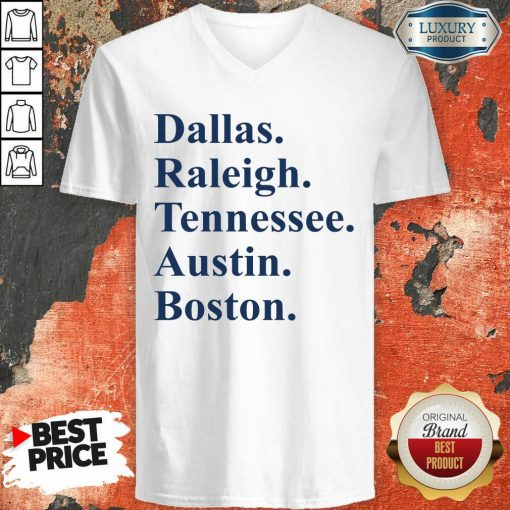 Dallas Raleigh Tennessee Austin Boston V-neck-Design By Soyatees.com