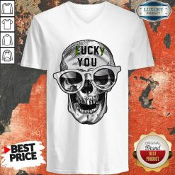Skull Lucky You Fuck You V-neck-Design By Soyatees.com