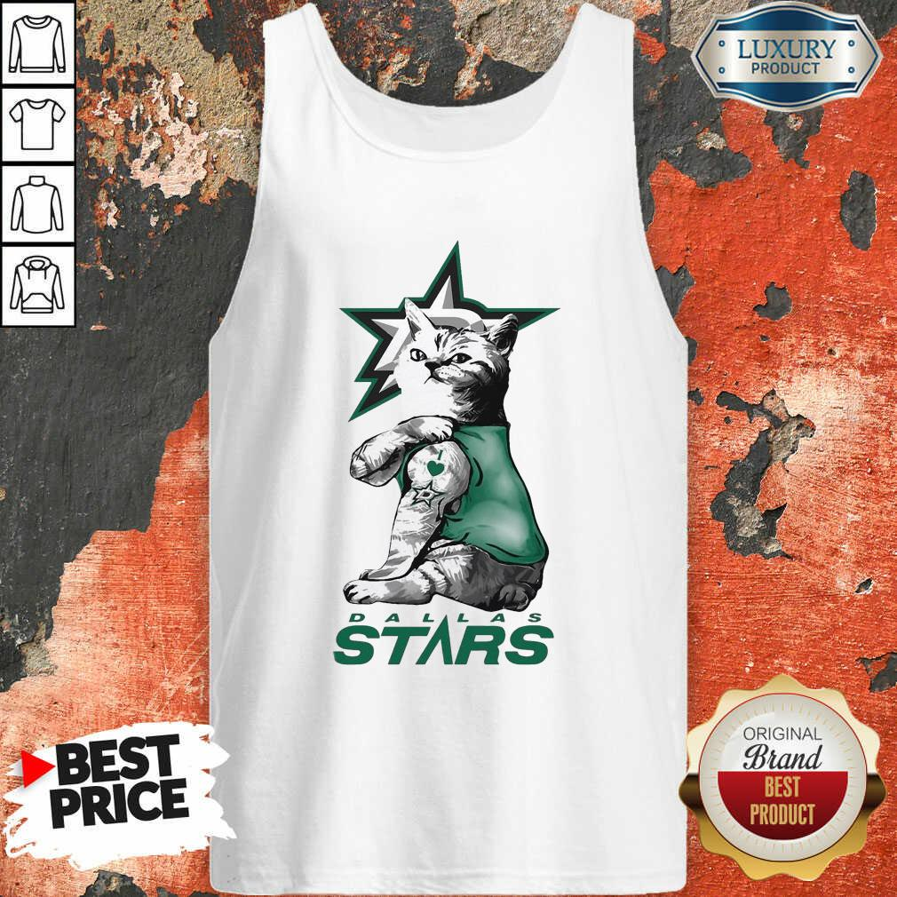 Tattoo Cat I Love Dallas Stars Tank Top-Design By Soyatees.com