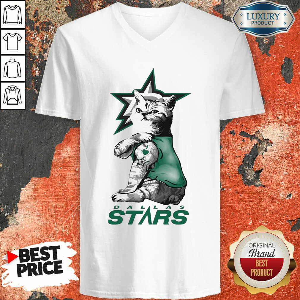 Tattoo Cat I Love Dallas Stars V-neck-Design By Soyatees.com