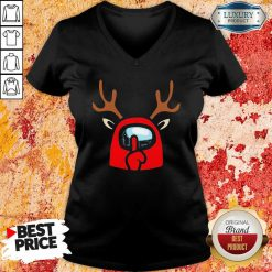 Among Us Reindeer Imports Christmas V-neck-Design By Soyatees.com