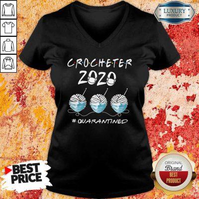 Crocheter 2020 Face Mask Quarantined V-neck-Design By Soyatees.com