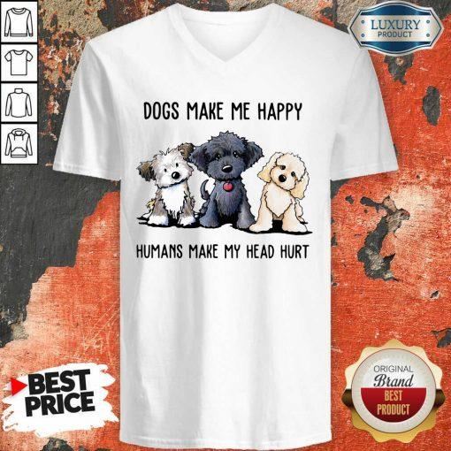 Doodle Dogs Make Me Happy Humans Make My Head Hurt V-neck-Design By Soyatees.com