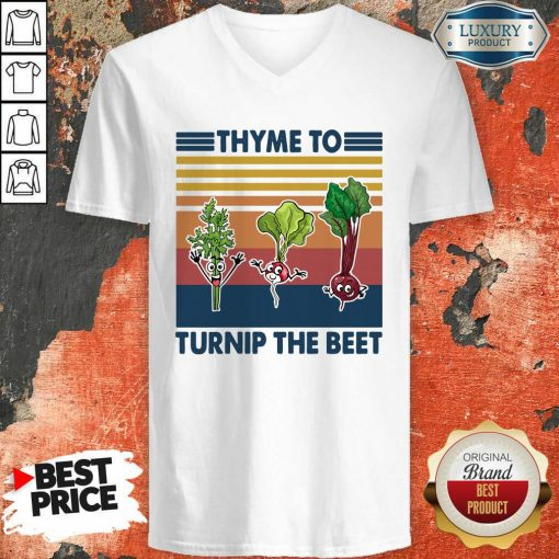 Gardening Thyme To Turnip The Beet Vintage Retro V-neck - Desisn By Soyatees.com