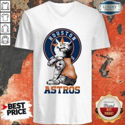 Tattoo Cat I Love Houston Astros V-neck-Design By Soyatees.com