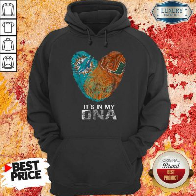 Dolphins Hurricanes It'S In My Dna Heart Fingerprints Hoodie-Design By Soyatees.com