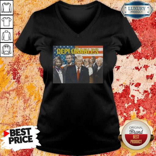 """Donald Trump The Deplorables American Flag V-neck """"-Design By Soyatees.com"""