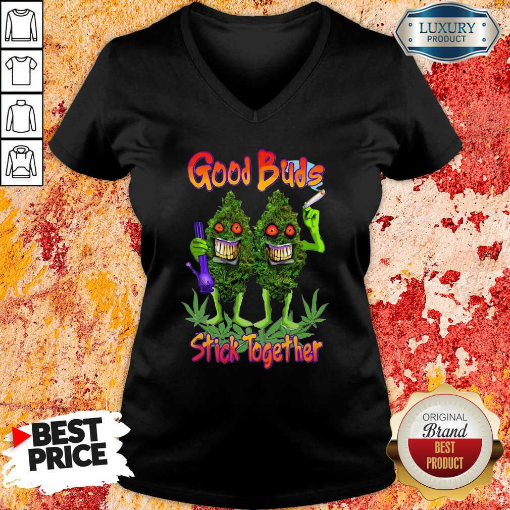 Weed Cannabis Good Buds Stick Together V-neck-Design By Soyatees.com