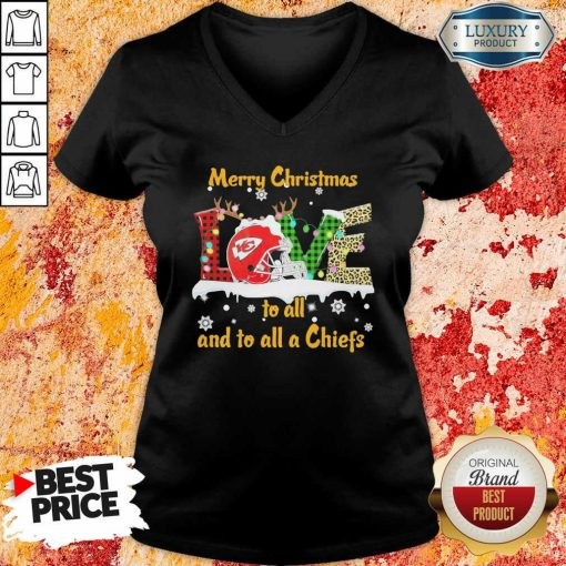 Hot Love Merry Christmas To All And To All A Kansas City Chiefs V-neck-Design By Soyatees.com