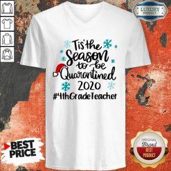 Tis' The Season To Be Quarantined 2020 4Th Grade Teacher Merry Christmas V-neck-Design By Soyatees.com