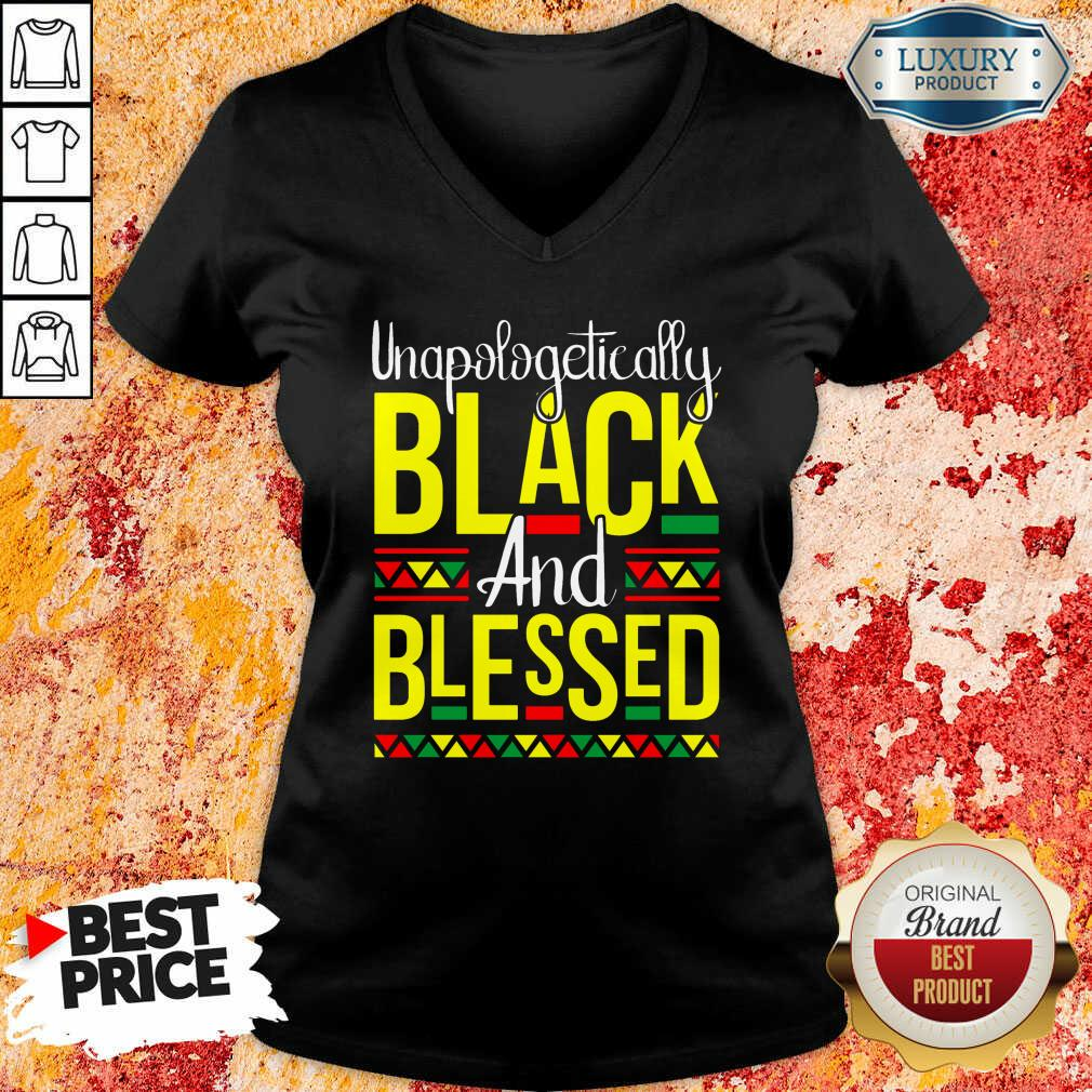 Unapologetically Black And Blessed V-neck-Design By Soyatees.com